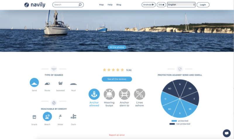 Navily anchorage app