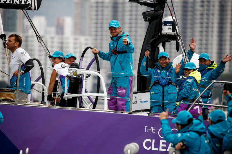 Team AkzoNobel battle hard for the win in the HGC In-Port Race Hong Kong
