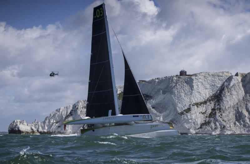 The mighty MOD70 Phaedo 3 on a mission - which she achieved big time - in today's J.P. Morgan Asset Management Round the Island Race. Image: Rachel Fallon-Langdon