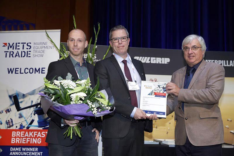 Dometic's Jörg Bernhart and Kester Petersson collect the DAME Design Award for the WAECO CRX at last year's METSTRADE
