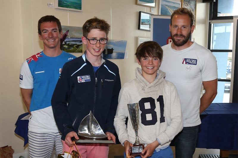 Team GB 49er Olympic sailors Dylan Fletcher and Alain Sign were on hand to award the PA Consulting UK RS Feva National Champion title to Freddie Peters and Louis Johnson at WPNSA © Peter Newton