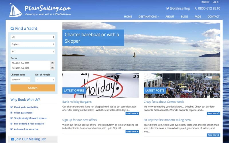 """Chartering a yacht is set to be """"Plain Sailing"""" from now on: Revolutionary online yacht charter service launches"""