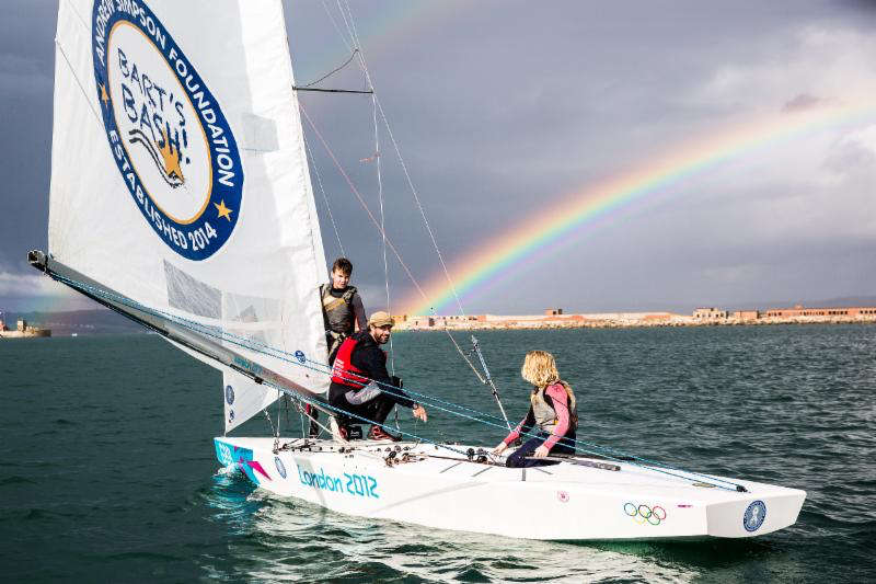 Iain Percy sails his Star at the end of a stunning rainbow in Portland Harbour this afternoon. Image: Sportography.tv