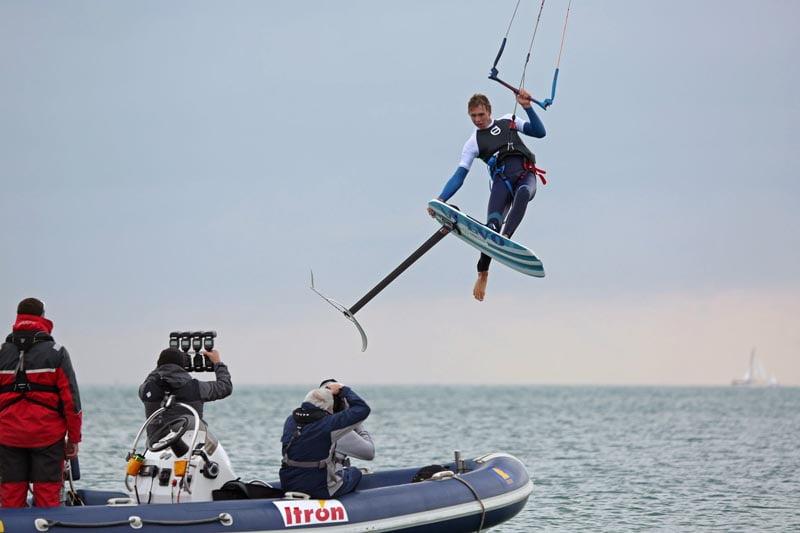 Olly Bridge jumps the press boat at VKSA