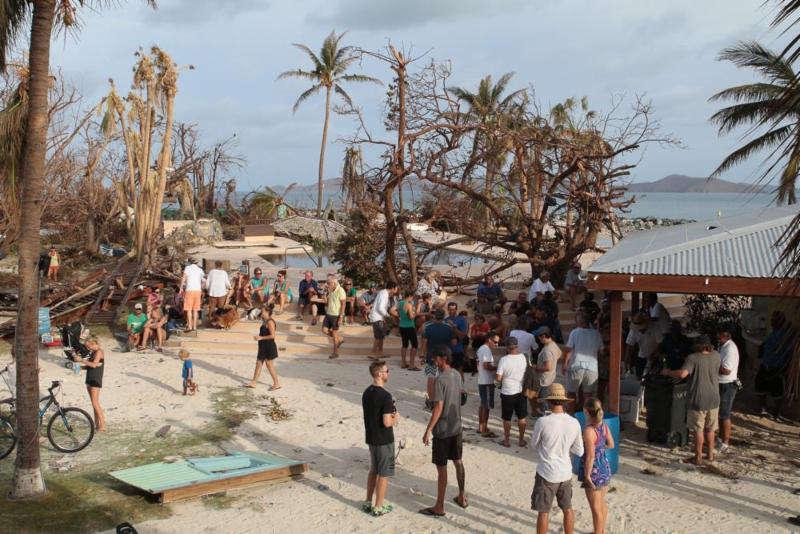 Post Irma. The nightly Nanny Cay Community meeting. Photo courtesy of Nanny Cay https://www.facebook.com/nannycay/