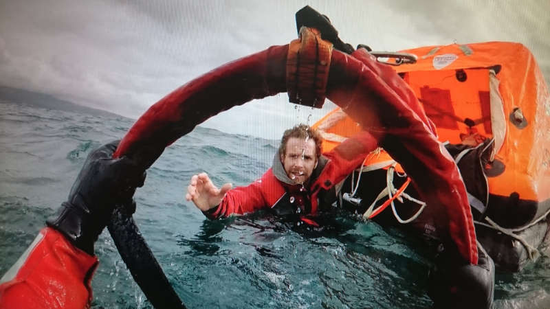 Sailor Edward Harwood during the rescue from yacht Mistral