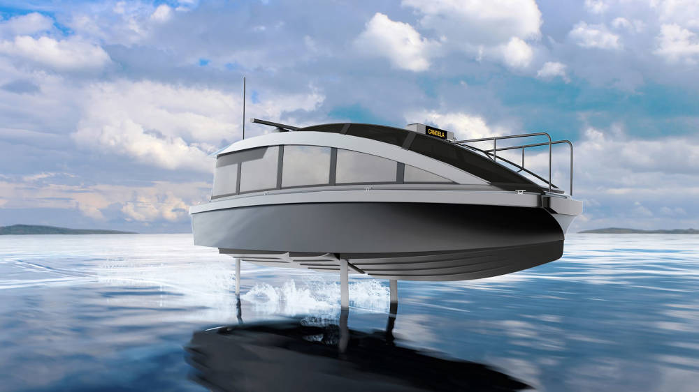 Launching the world's first foiling water taxi - Candela P-12