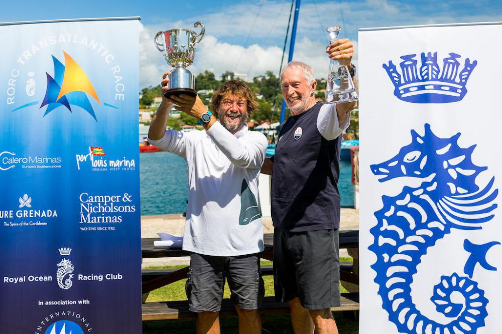 Giovanni Soldini's Multi70 Maserati and Peter Cunningham's MOD70 PowerPlay came head to head in the 2018 edition of the RORC Transatlantic Race and will be back for the next edition starting in January 2022 © Arthur Daniel/RORC